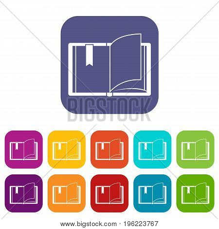 Open book icons set vector illustration in flat style in colors red, blue, green, and other