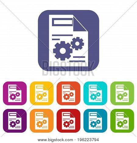 Web setting icons set vector illustration in flat style in colors red, blue, green, and other