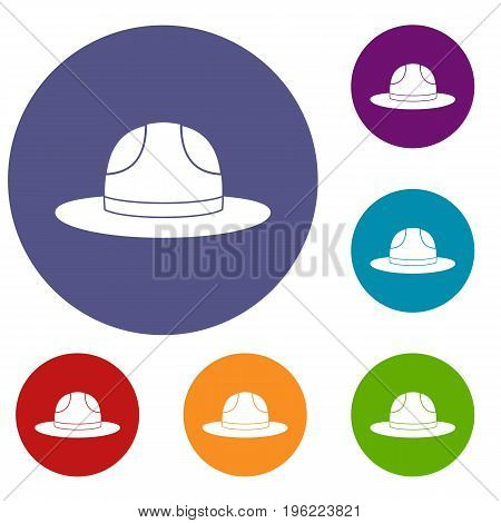 Canadian hat icons set in flat circle red, blue and green color for web
