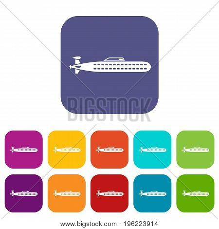 Submarine icons set vector illustration in flat style in colors red, blue, green, and other