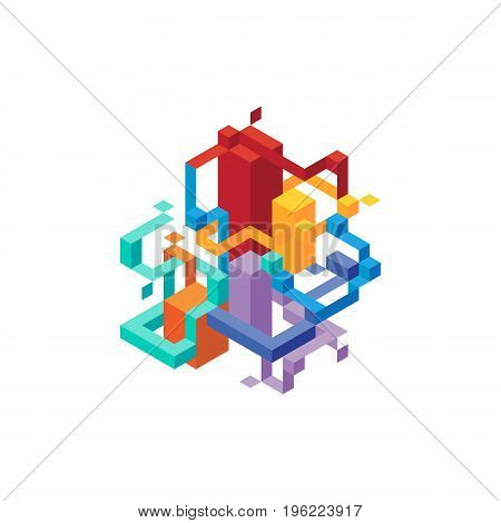 Abstract modern geometric isometric composition background design element template for poster backdrop book cover brochure leaflet vector illustration