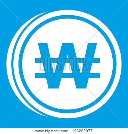 Coins won icon white isolated on blue background vector illustration