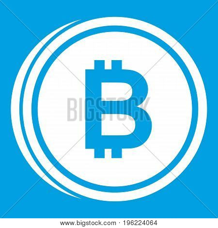 Coin bat icon white isolated on blue background vector illustration