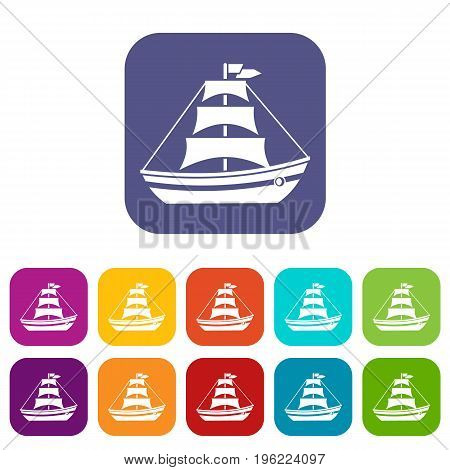 Boat with sails icons set vector illustration in flat style in colors red, blue, green, and other