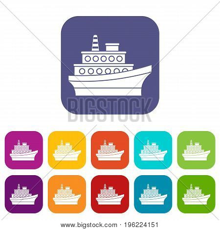 Big ship icons set vector illustration in flat style in colors red, blue, green, and other