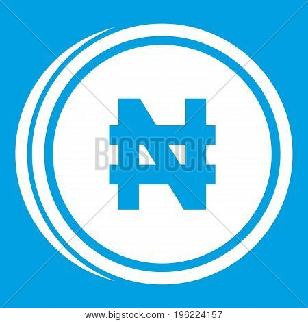 Coin naira icon white isolated on blue background vector illustration