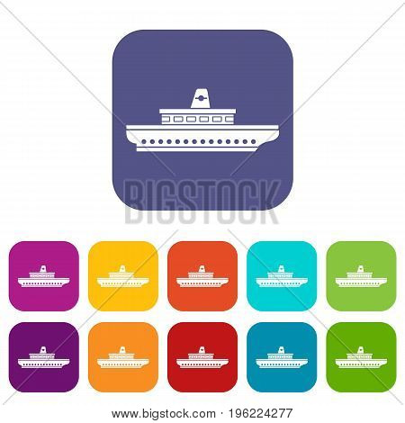 Passenger ship icons set vector illustration in flat style in colors red, blue, green, and other