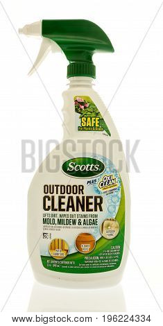 Winneconne WI - 20 July 2017: A bottle of Scotts outdoor cleaner on an isolated background.