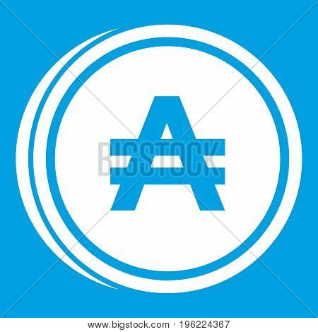 Coin austral icon white isolated on blue background vector illustration