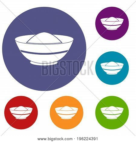 Indian spicy icons set in flat circle red, blue and green color for web