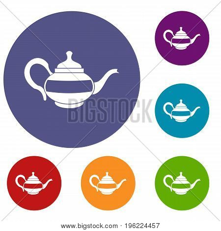 Teapot icons set in flat circle red, blue and green color for web