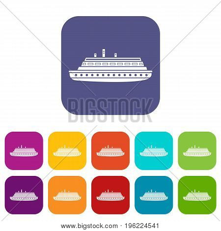 Long ship icons set vector illustration in flat style in colors red, blue, green, and other