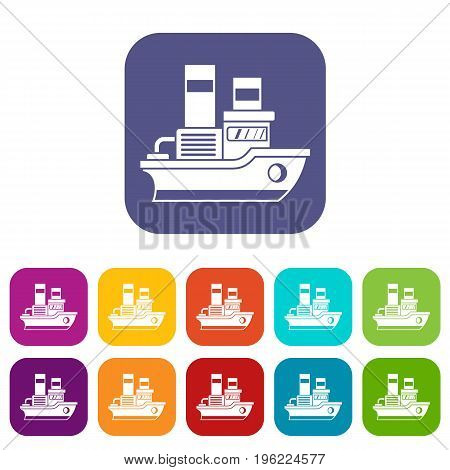 Small ship icons set vector illustration in flat style in colors red, blue, green, and other