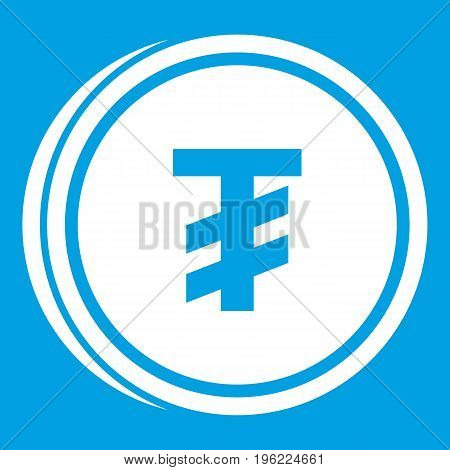 Tugrik coin icon white isolated on blue background vector illustration