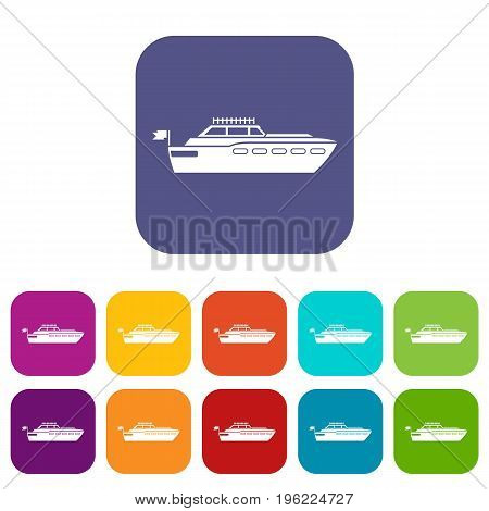 Big yacht icons set vector illustration in flat style in colors red, blue, green, and other