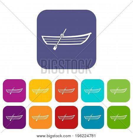 Boat with paddle icons set vector illustration in flat style in colors red, blue, green, and other