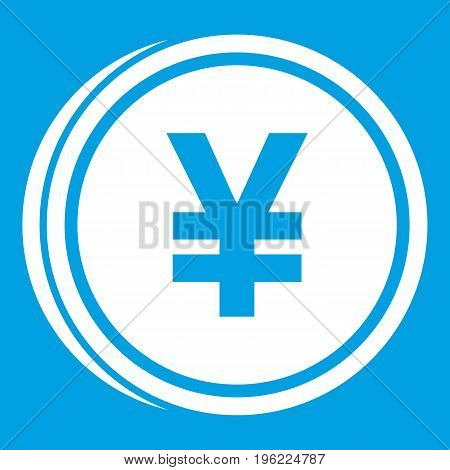 Coin yen icon white isolated on blue background vector illustration