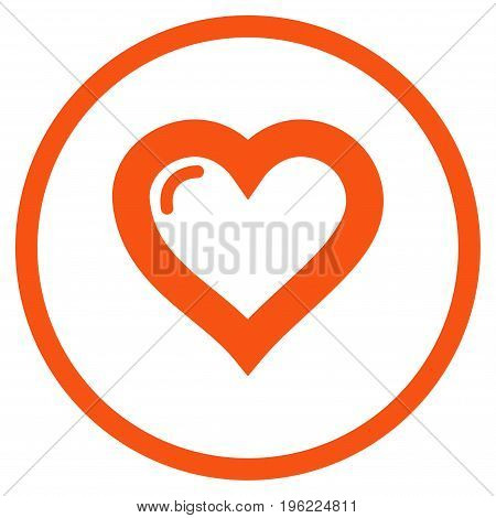 Love Heart rounded icon. Vector illustration style is flat iconic symbol inside circle, orange color, white background.