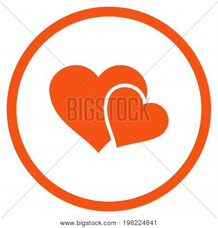 Love Hearts rounded icon. Vector illustration style is flat iconic symbol inside circle, orange color, white background.