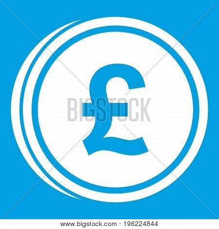 Coins of pound icon white isolated on blue background vector illustration