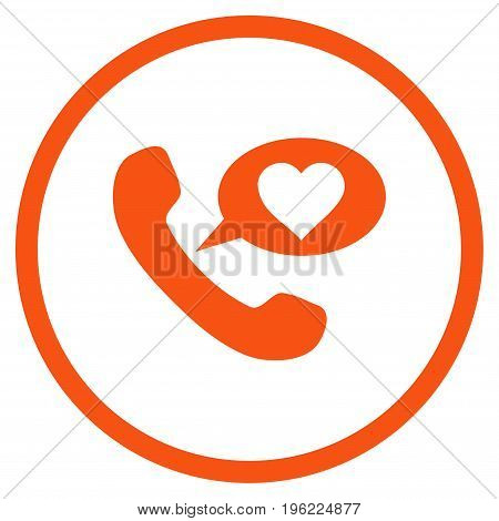 Love Phone Message rounded icon. Vector illustration style is flat iconic symbol inside circle, orange color, white background.