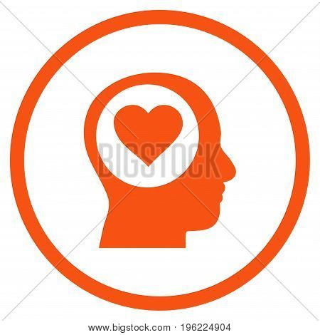 Love Thinking Head rounded icon. Vector illustration style is flat iconic symbol inside circle, orange color, white background.