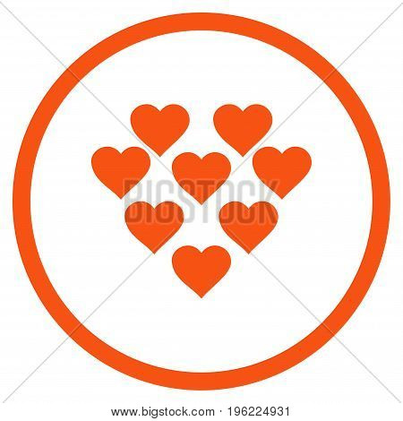 Lovely Hearts rounded icon. Vector illustration style is flat iconic symbol inside circle, orange color, white background.