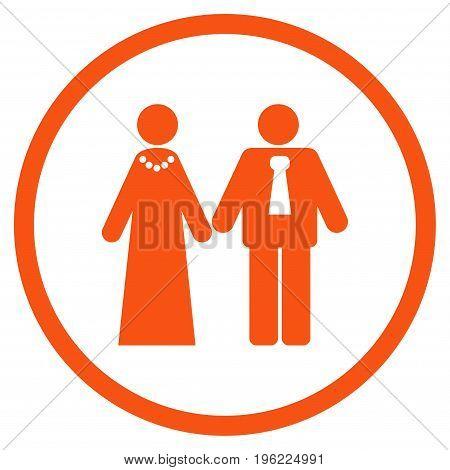 Newlyweds rounded icon. Vector illustration style is flat iconic symbol inside circle, orange color, white background.