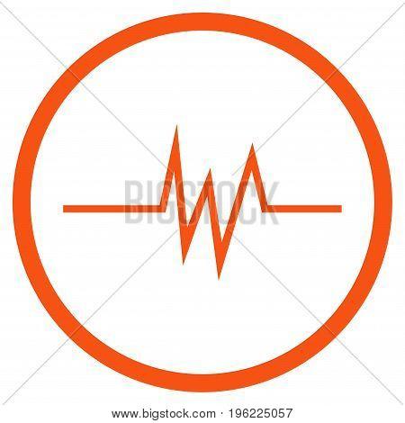 Pulse Signal rounded icon. Vector illustration style is flat iconic symbol inside circle, orange color, white background.