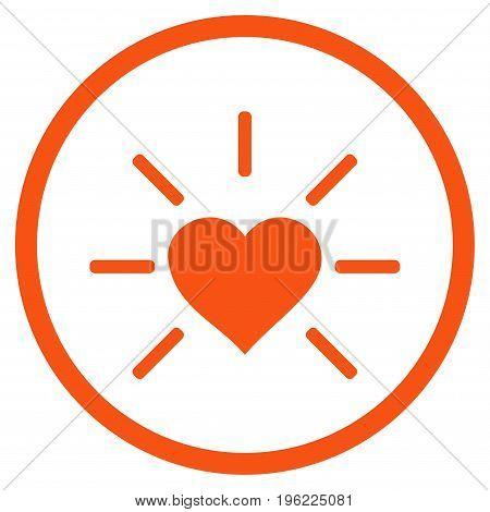 Shiny Love Heart rounded icon. Vector illustration style is flat iconic symbol inside circle, orange color, white background.