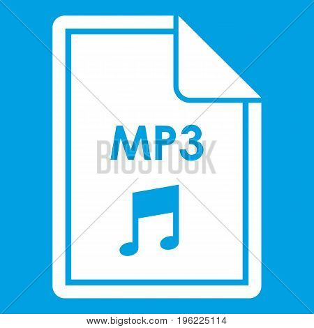 File MP3 icon white isolated on blue background vector illustration