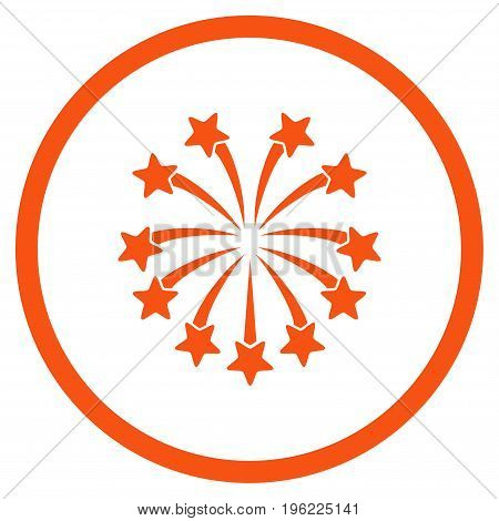 Spherical Fireworks rounded icon. Vector illustration style is flat iconic symbol inside circle, orange color, white background.
