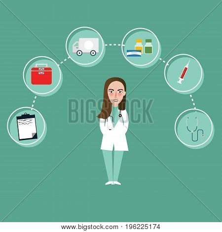 doctor girl character and medical icons around such as bag medicine ambulance vector