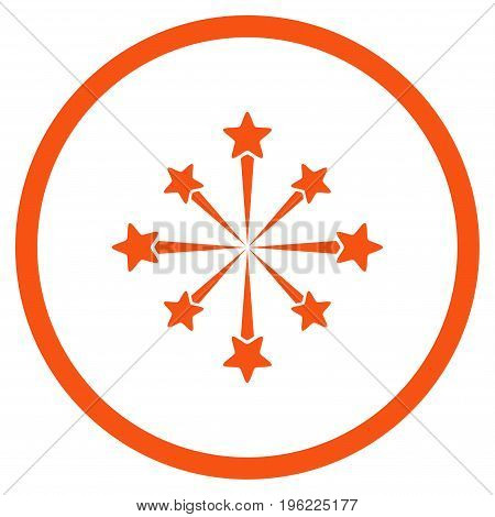 Star Burst Fireworks rounded icon. Vector illustration style is flat iconic symbol inside circle, orange color, white background.