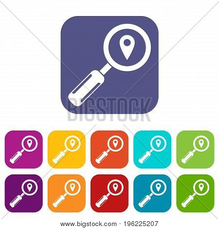 Magnifying glass and map location icons set vector illustration in flat style in colors red, blue, green, and other