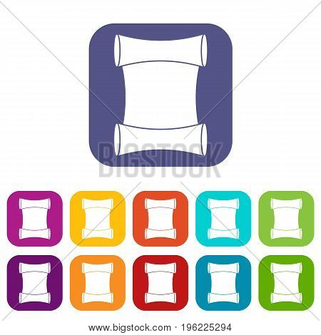 Scroll icons set vector illustration in flat style in colors red, blue, green, and other