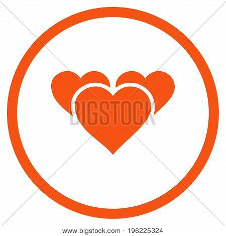 Valentine Hearts rounded icon. Vector illustration style is flat iconic symbol inside circle, orange color, white background.