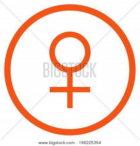 Venus Female Symbol rounded icon. Vector illustration style is flat iconic symbol inside circle, orange color, white background.