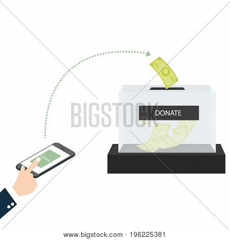 online mobile donation fundraiser hands holding box charity giving support others vector