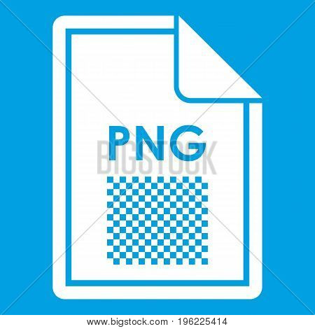 File PNG icon white isolated on blue background vector illustration