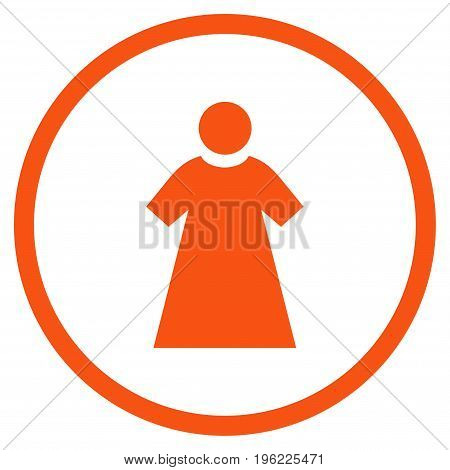 Woman rounded icon. Vector illustration style is flat iconic symbol inside circle, orange color, white background.