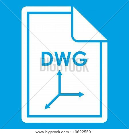 File DWG icon white isolated on blue background vector illustration
