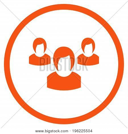 Woman Group rounded icon. Vector illustration style is flat iconic symbol inside circle, orange color, white background.