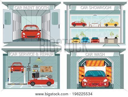Set of car service station showroom carwash paint booth service and repair shop interior concept posters banners flat style design elements vector illustration.
