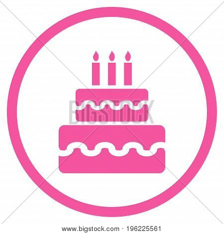 Birthday Cake rounded icon. Vector illustration style is flat iconic symbol inside circle, pink color, white background.