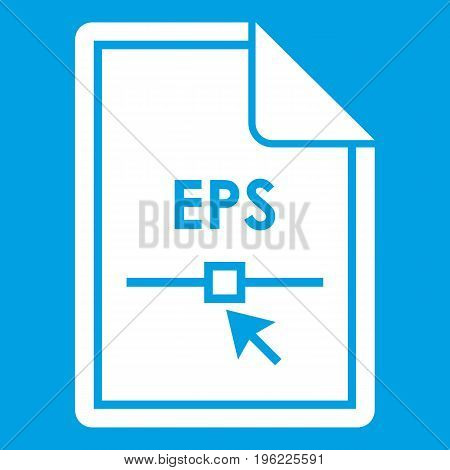 File EPS icon white isolated on blue background vector illustration
