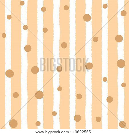 Seamless pattern with vertical stripes and randomly scattered dots. Drawn by hand. Vector illustration. Beige brown white.