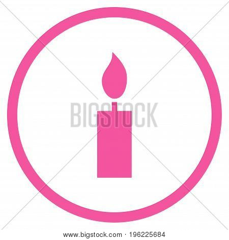 Candle rounded icon. Vector illustration style is flat iconic symbol inside circle, pink color, white background.