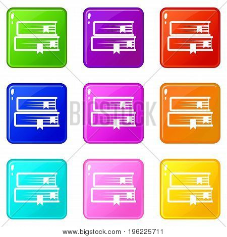 Two books icons of 9 color set isolated vector illustration