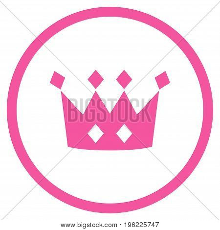 Crown rounded icon. Vector illustration style is flat iconic symbol inside circle, pink color, white background.